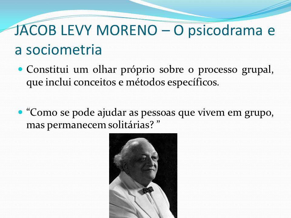 """JACOB LEVY MORENO – O psicodrama e a sociometria Constitui um olhar próprio sobre o processo grupal, que inclui conceitos e métodos específicos. """"Como"""