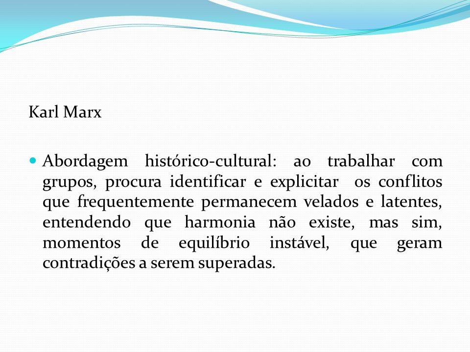 Karl Marx Abordagem histórico-cultural: ao trabalhar com grupos, procura identificar e explicitar os conflitos que frequentemente permanecem velados e latentes, entendendo que harmonia não existe, mas sim, momentos de equilíbrio instável, que geram contradições a serem superadas.
