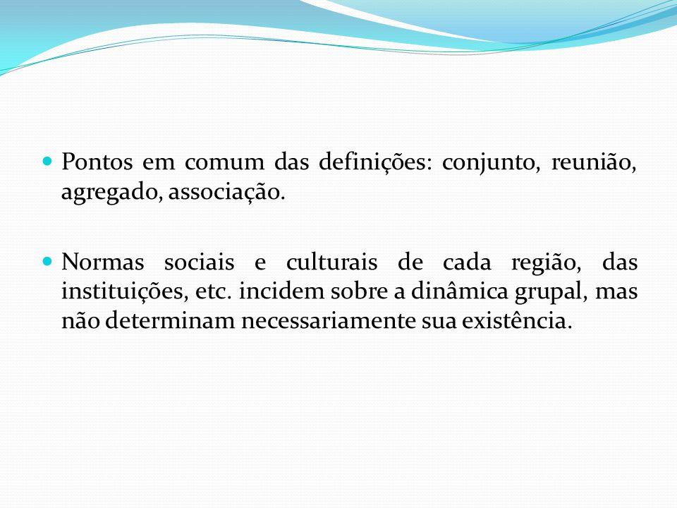 Pontos em comum das definições: conjunto, reunião, agregado, associação. Normas sociais e culturais de cada região, das instituições, etc. incidem sob