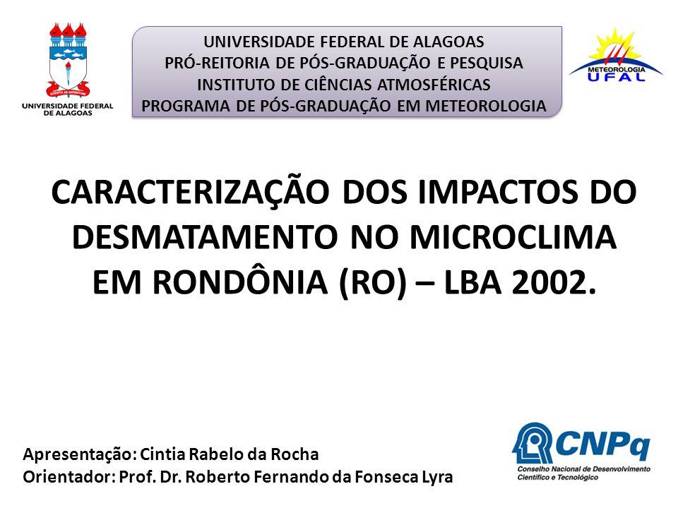 Apresentação: Cintia Rabelo da Rocha Orientador: Prof. Dr. Roberto Fernando da Fonseca Lyra CARACTERIZAÇÃO DOS IMPACTOS DO DESMATAMENTO NO MICROCLIMA