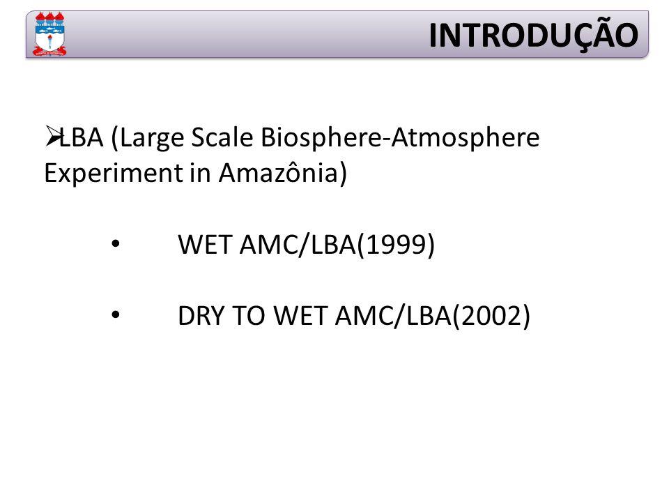  LBA (Large Scale Biosphere-Atmosphere Experiment in Amazônia) WET AMC/LBA(1999) DRY TO WET AMC/LBA(2002) INTRODUÇÃO