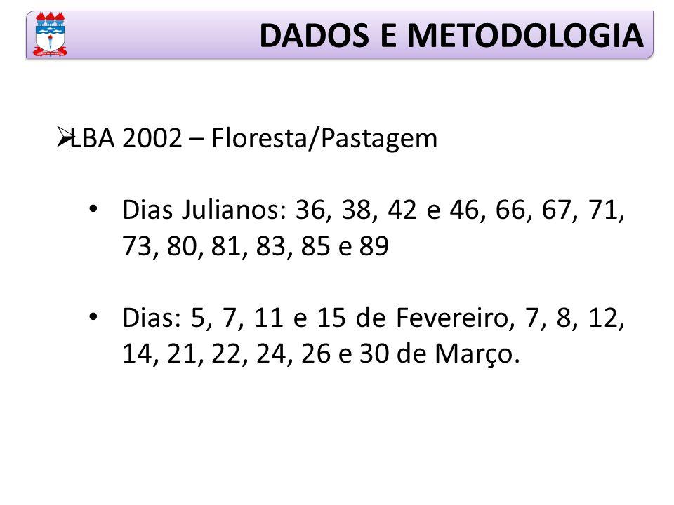  LBA 2002 – Floresta/Pastagem Dias Julianos: 36, 38, 42 e 46, 66, 67, 71, 73, 80, 81, 83, 85 e 89 Dias: 5, 7, 11 e 15 de Fevereiro, 7, 8, 12, 14, 21, 22, 24, 26 e 30 de Março.