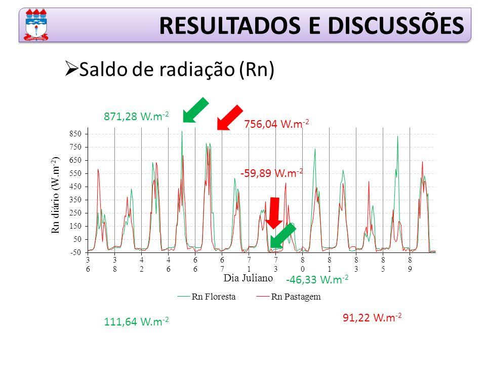 RESULTADOS E DISCUSSÕES  Saldo de radiação (Rn) 871,28 W.m -2 -46,33 W.m -2 111,64 W.m -2 756,04 W.m -2 -59,89 W.m -2 91,22 W.m -2