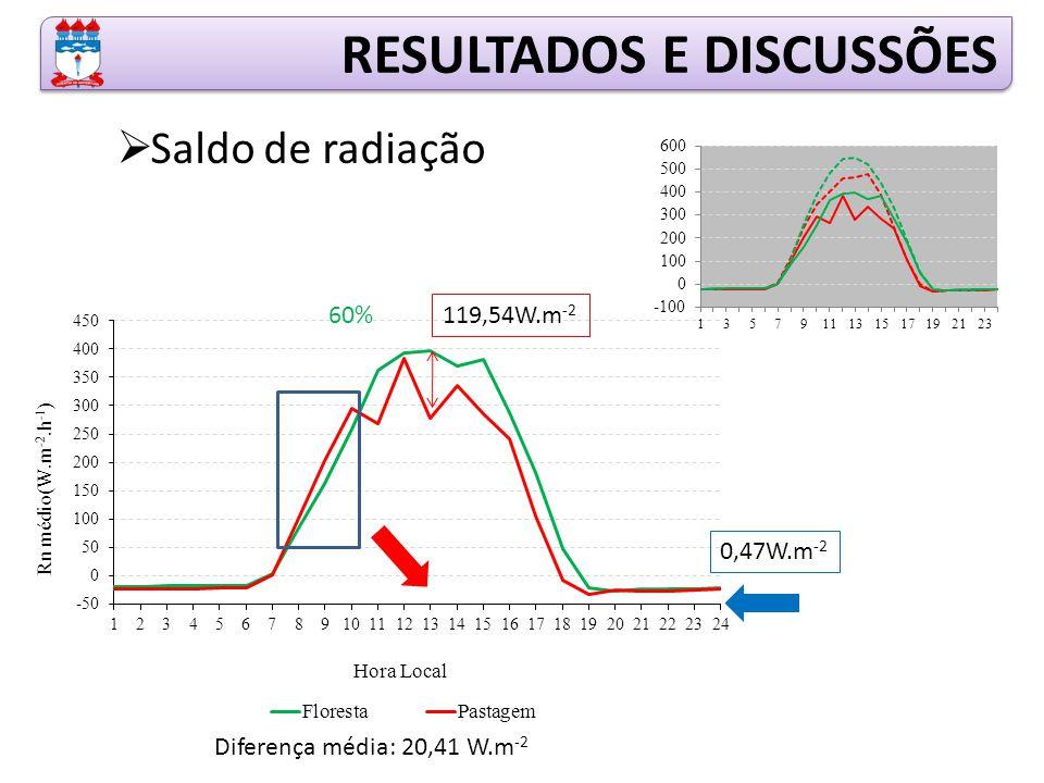 RESULTADOS E DISCUSSÕES  Saldo de radiação 119,54W.m -2 0,47W.m -2 Diferença média: 20,41 W.m -2 60%