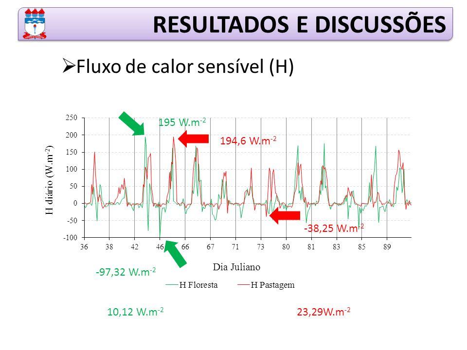 RESULTADOS E DISCUSSÕES  Fluxo de calor sensível (H) 195 W.m -2 -97,32 W.m -2 10,12 W.m -2 194,6 W.m -2 -38,25 W.m -2 23,29W.m -2