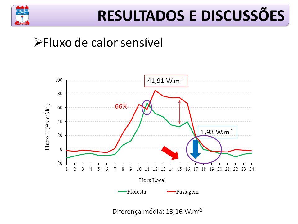 RESULTADOS E DISCUSSÕES  Fluxo de calor sensível 41,91 W.m -2 1,93 W.m -2 Diferença média: 13,16 W.m -2 66%