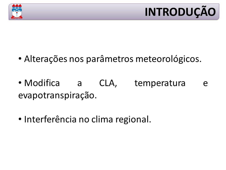 Alterações nos parâmetros meteorológicos.Modifica a CLA, temperatura e evapotranspiração.