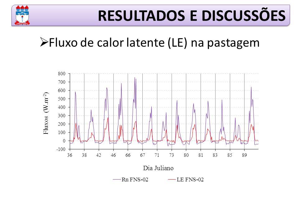 RESULTADOS E DISCUSSÕES  Fluxo de calor latente (LE) na pastagem