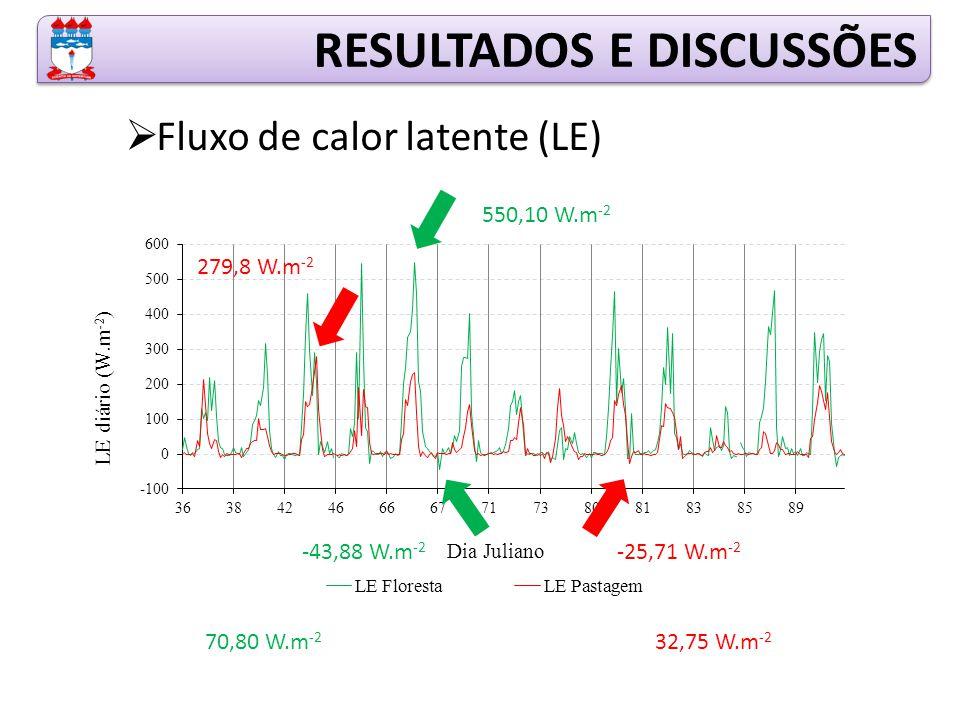RESULTADOS E DISCUSSÕES  Fluxo de calor latente (LE) 550,10 W.m -2 -43,88 W.m -2 70,80 W.m -2 279,8 W.m -2 -25,71 W.m -2 32,75 W.m -2