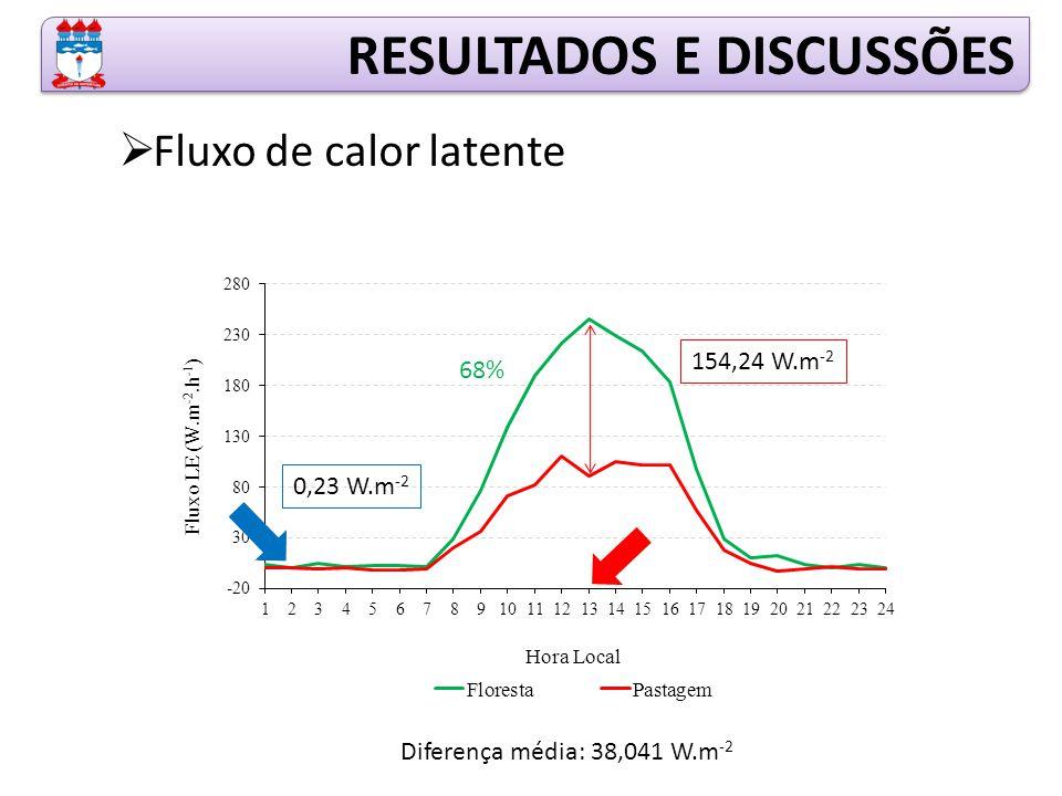 RESULTADOS E DISCUSSÕES  Fluxo de calor latente 154,24 W.m -2 0,23 W.m -2 Diferença média: 38,041 W.m -2 68%