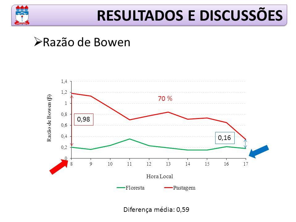 RESULTADOS E DISCUSSÕES  Razão de Bowen 0,98 0,16 70 % Diferença média: 0,59