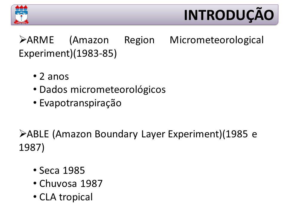  ARME (Amazon Region Micrometeorological Experiment)(1983-85) 2 anos Dados micrometeorológicos Evapotranspiração  ABLE (Amazon Boundary Layer Experiment)(1985 e 1987) Seca 1985 Chuvosa 1987 CLA tropical INTRODUÇÃO