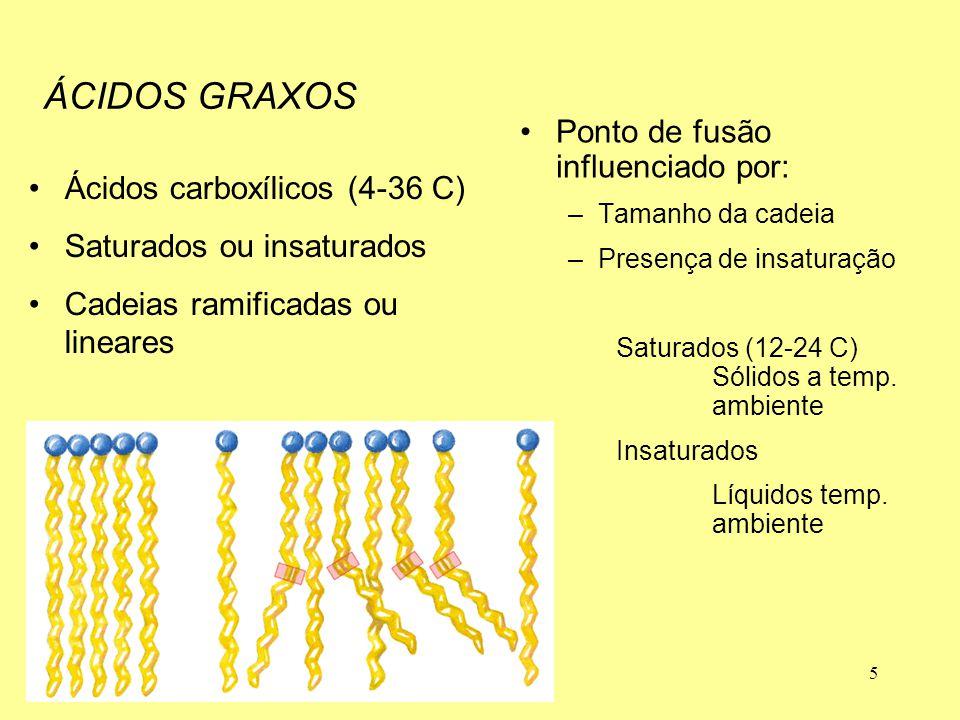 5 Ácidos carboxílicos (4-36 C) Saturados ou insaturados Cadeias ramificadas ou lineares Ponto de fusão influenciado por: –Tamanho da cadeia –Presença