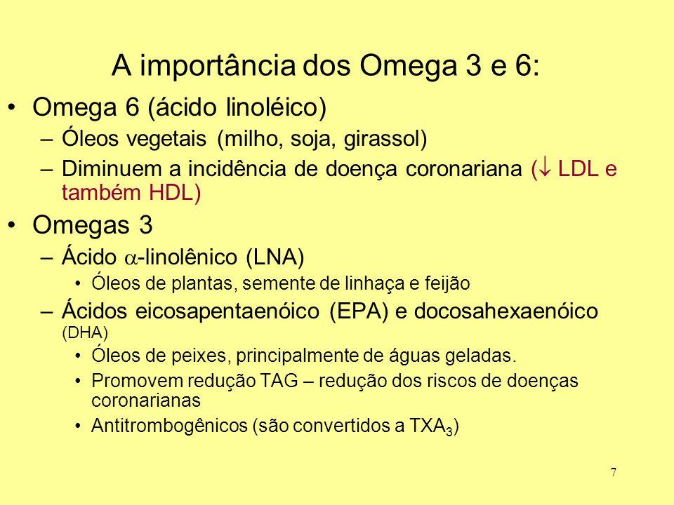 7 Omega 6 (ácido linoléico) –Óleos vegetais (milho, soja, girassol) –Diminuem a incidência de doença coronariana (  LDL e também HDL) Omegas 3 –Ácido