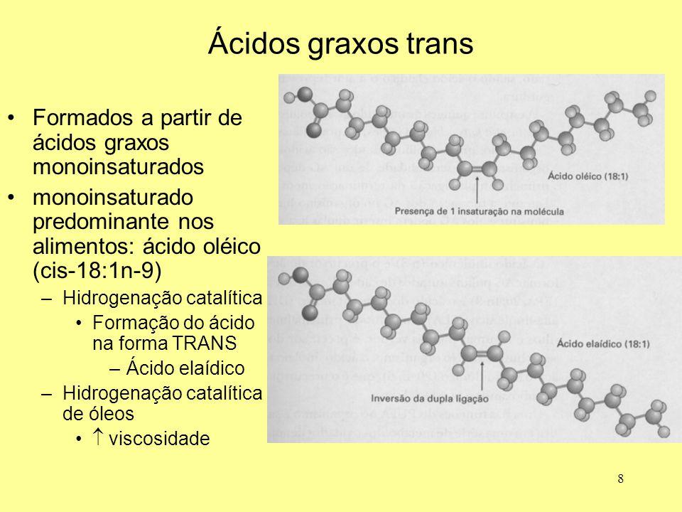 8 Ácidos graxos trans Formados a partir de ácidos graxos monoinsaturados monoinsaturado predominante nos alimentos: ácido oléico (cis-18:1n-9) –Hidrog
