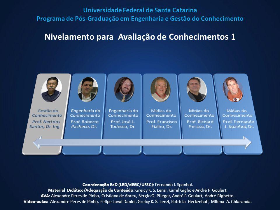 Universidade Federal de Santa Catarina Programa de Pós-Graduação em Engenharia e Gestão do Conhecimento Nivelamento para Avaliação de Conhecimentos 1