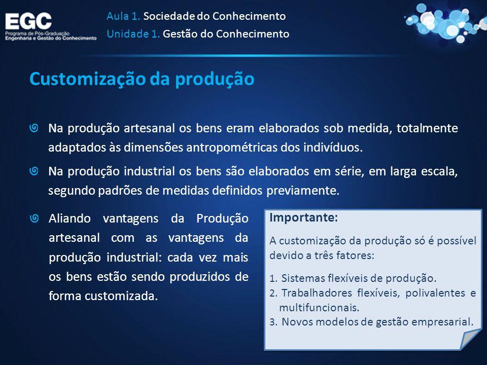 Customização da produção Na produção artesanal os bens eram elaborados sob medida, totalmente adaptados às dimensões antropométricas dos indivíduos. N