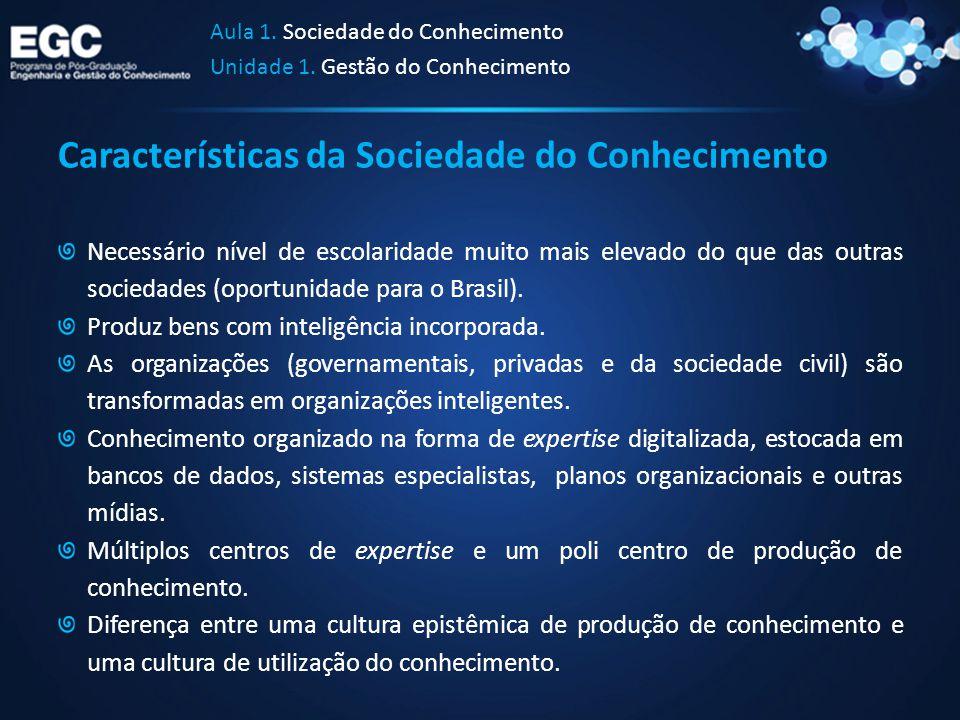 Características da Sociedade do Conhecimento Necessário nível de escolaridade muito mais elevado do que das outras sociedades (oportunidade para o Bra
