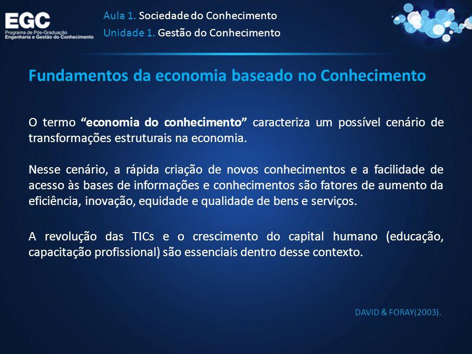 """Fundamentos da economia baseado no Conhecimento O termo """"economia do conhecimento"""" caracteriza um possível cenário de transformações estruturais na ec"""