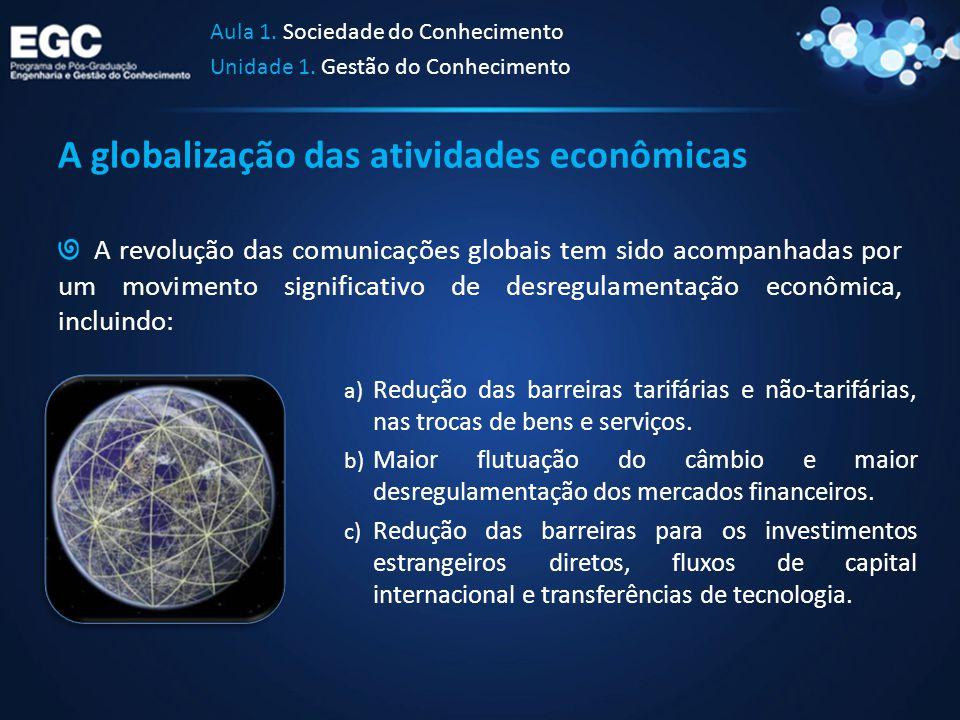 A globalização das atividades econômicas A revolução das comunicações globais tem sido acompanhadas por um movimento significativo de desregulamentaçã
