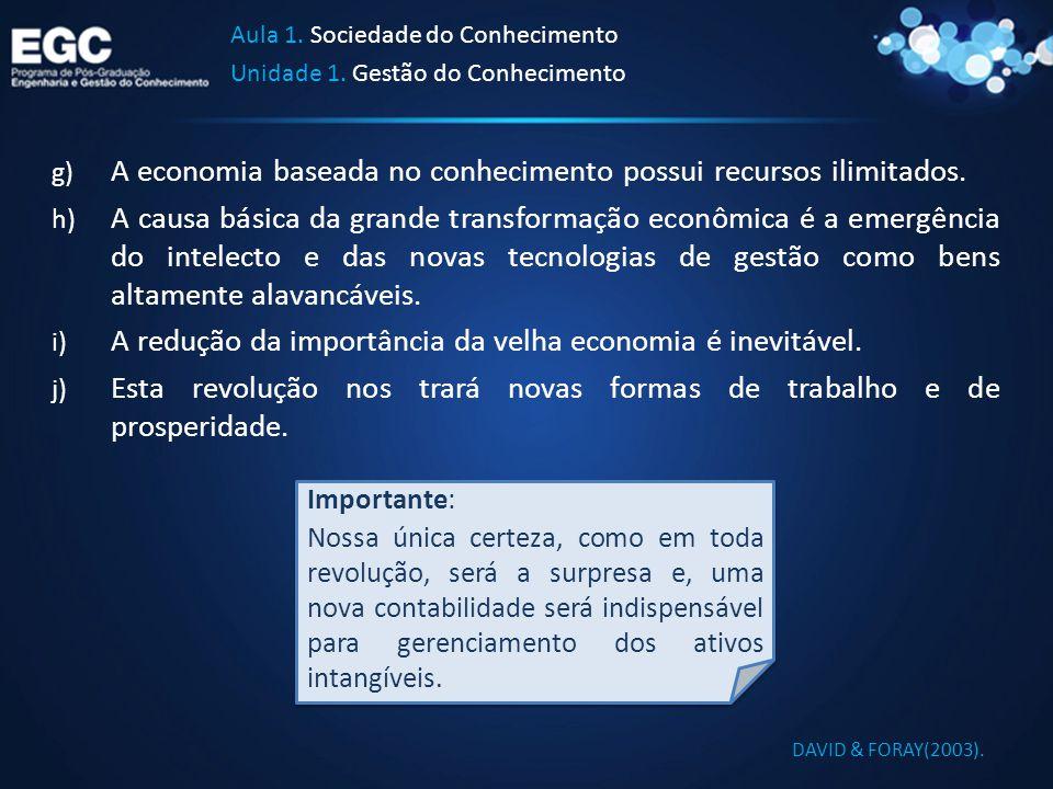 Aula 1. Sociedade do Conhecimento Unidade 1. Gestão do Conhecimento g) A economia baseada no conhecimento possui recursos ilimitados. h) A causa básic