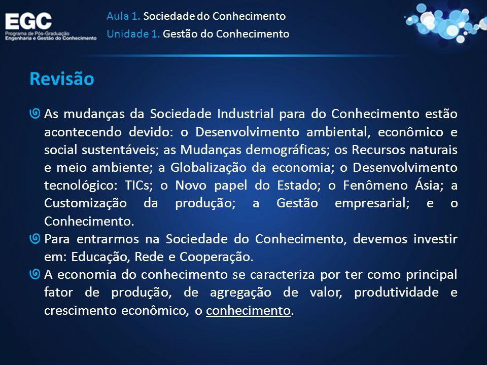 Revisão As mudanças da Sociedade Industrial para do Conhecimento estão acontecendo devido: o Desenvolvimento ambiental, econômico e social sustentávei