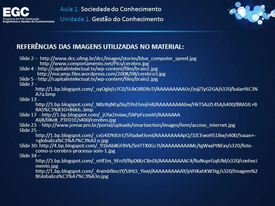 REFERÊNCIAS DAS IMAGENS UTILIZADAS NO MATERIAL: Slide 2 – http://www.dcc.ufmg.br/dcc/images/stories/blue_computer_speed.jpg http://www.comportamento.n