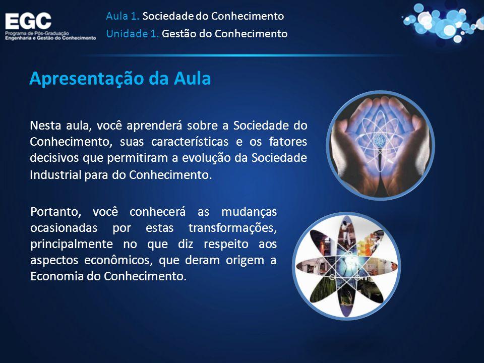 Apresentação da Aula Aula 1. Sociedade do Conhecimento Unidade 1. Gestão do Conhecimento Nesta aula, você aprenderá sobre a Sociedade do Conhecimento,