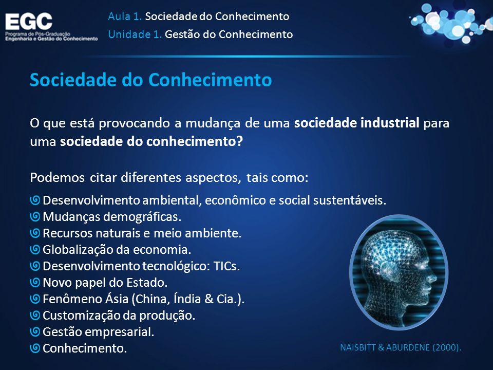 Sociedade do Conhecimento O que está provocando a mudança de uma sociedade industrial para uma sociedade do conhecimento? Podemos citar diferentes asp
