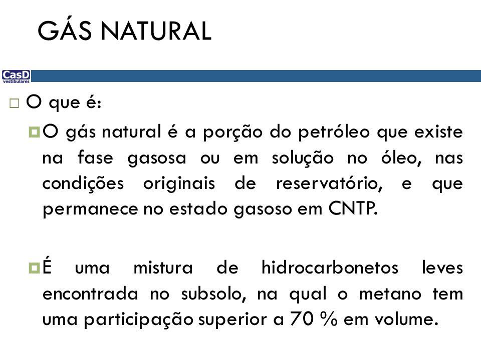 GÁS NATURAL  O que é:  O gás natural é a porção do petróleo que existe na fase gasosa ou em solução no óleo, nas condições originais de reservatório