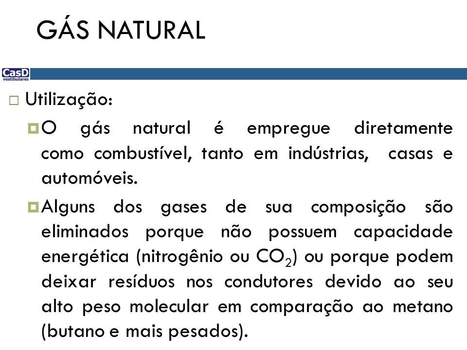 GÁS NATURAL  Utilização:  O gás natural é empregue diretamente como combustível, tanto em indústrias, casas e automóveis.  Alguns dos gases de sua