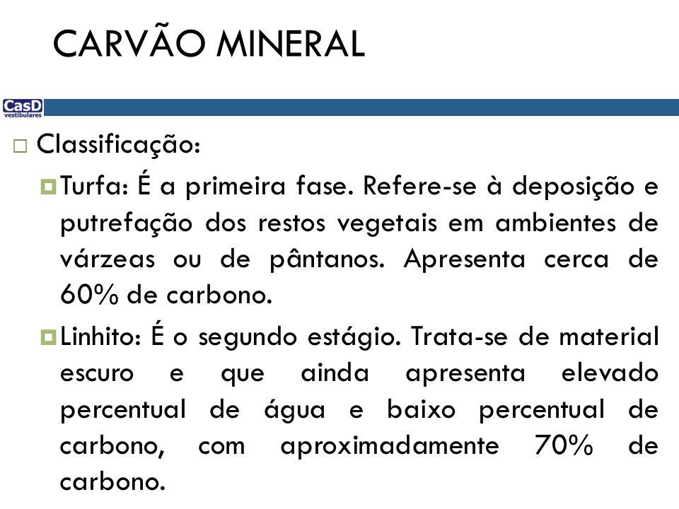 CARVÃO MINERAL  Classificação:  Turfa: É a primeira fase. Refere-se à deposição e putrefação dos restos vegetais em ambientes de várzeas ou de pânta