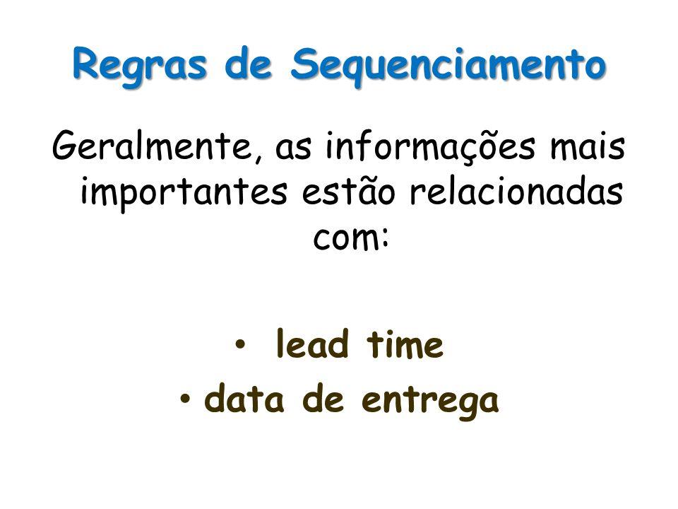 Regras de Sequenciamento Geralmente, as informações mais importantes estão relacionadas com: lead time data de entrega