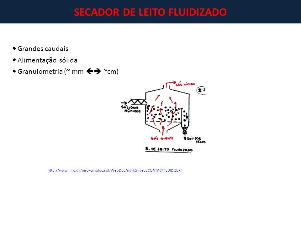 SECADOR DE LEITO FLUIDIZADO http://www.niro.dk/niro/cmsdoc.nsf/WebDoc/ndkk5hvecqCONTACTFLUIDIZERF  Grandes caudais  Alimentação sólida  Granulometr