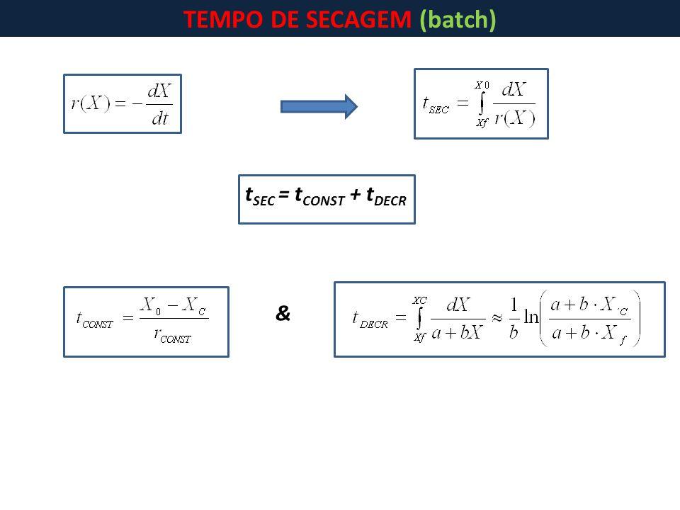 t SEC = t CONST + t DECR & TEMPO DE SECAGEM (batch)