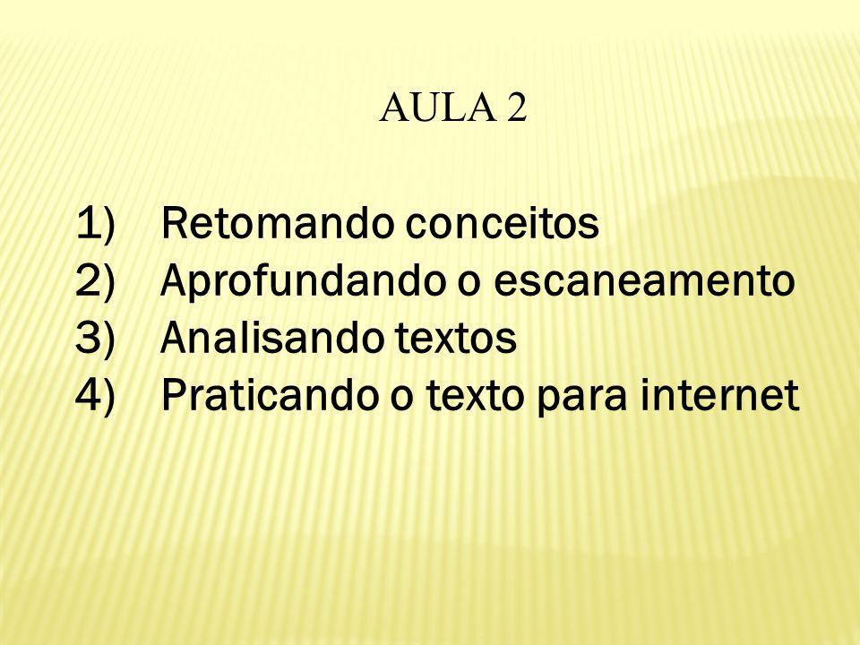 AULA 2 1)Retomando conceitos 2)Aprofundando o escaneamento 3)Analisando textos 4)Praticando o texto para internet