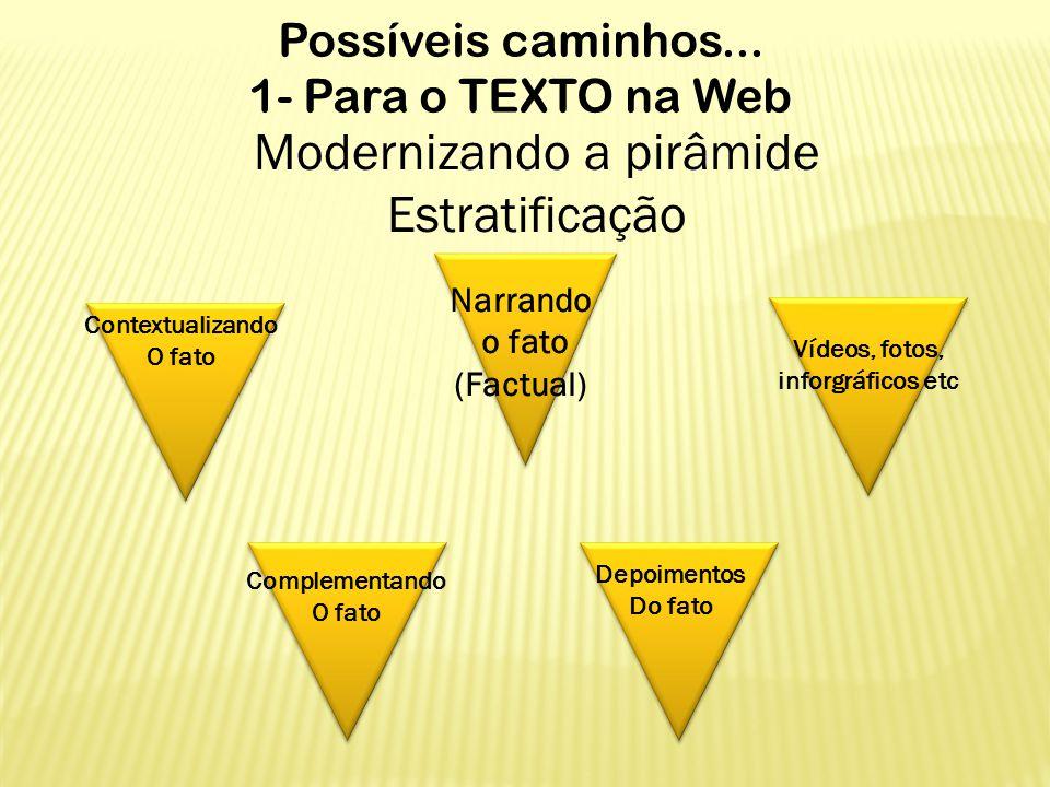 Possíveis caminhos... 1- Para o TEXTO na Web Modernizando a pirâmide Estratificação Narrando o fato (Factual) Contextualizando O fato Complementando O