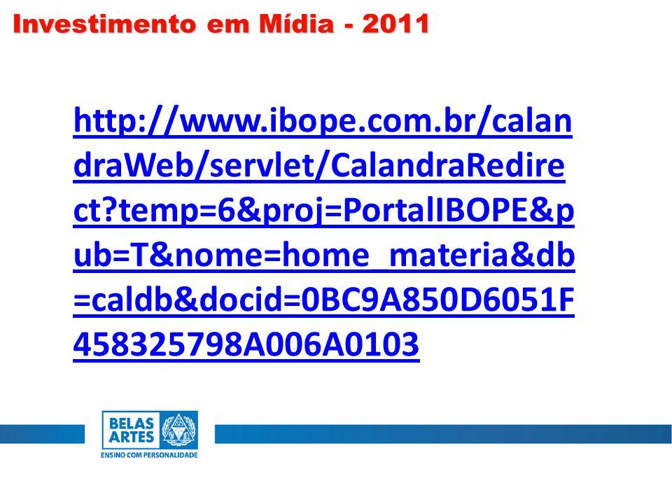 http://www.ibope.com.br/calan draWeb/servlet/CalandraRedire ct temp=6&proj=PortalIBOPE&p ub=T&nome=home_materia&db =caldb&docid=0BC9A850D6051F 458325798A006A0103 Investimento em Mídia - 2011
