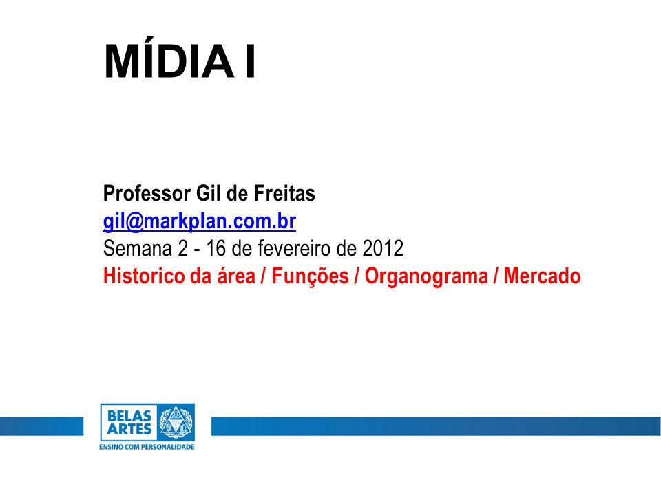 MÍDIA I Professor Gil de Freitas gil@markplan.com.br Semana 2 - 16 de fevereiro de 2012 Historico da área / Funções / Organograma / Mercado