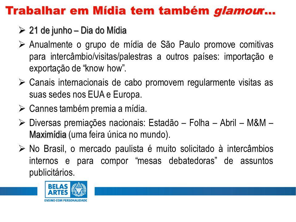  21 de junho – Dia do Mídia  Anualmente o grupo de mídia de São Paulo promove comitivas para intercâmbio/visitas/palestras a outros países: importação e exportação de know how .