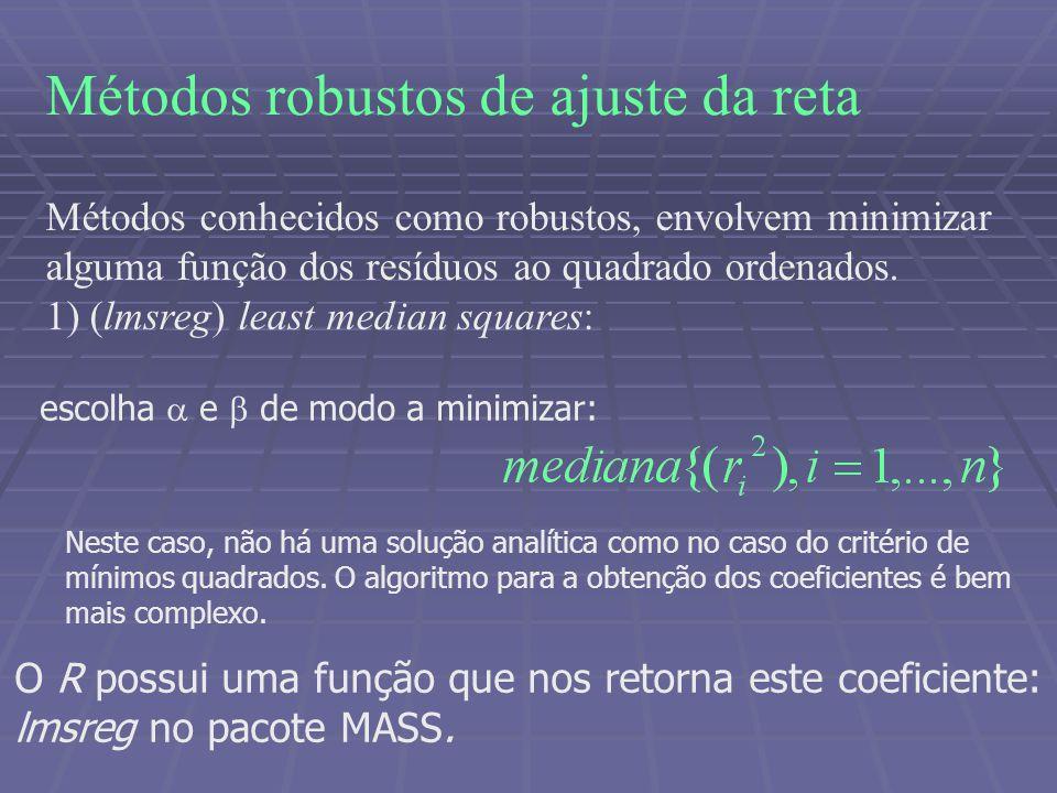 Métodos robustos de ajuste da reta Métodos conhecidos como robustos, envolvem minimizar alguma função dos resíduos ao quadrado ordenados.