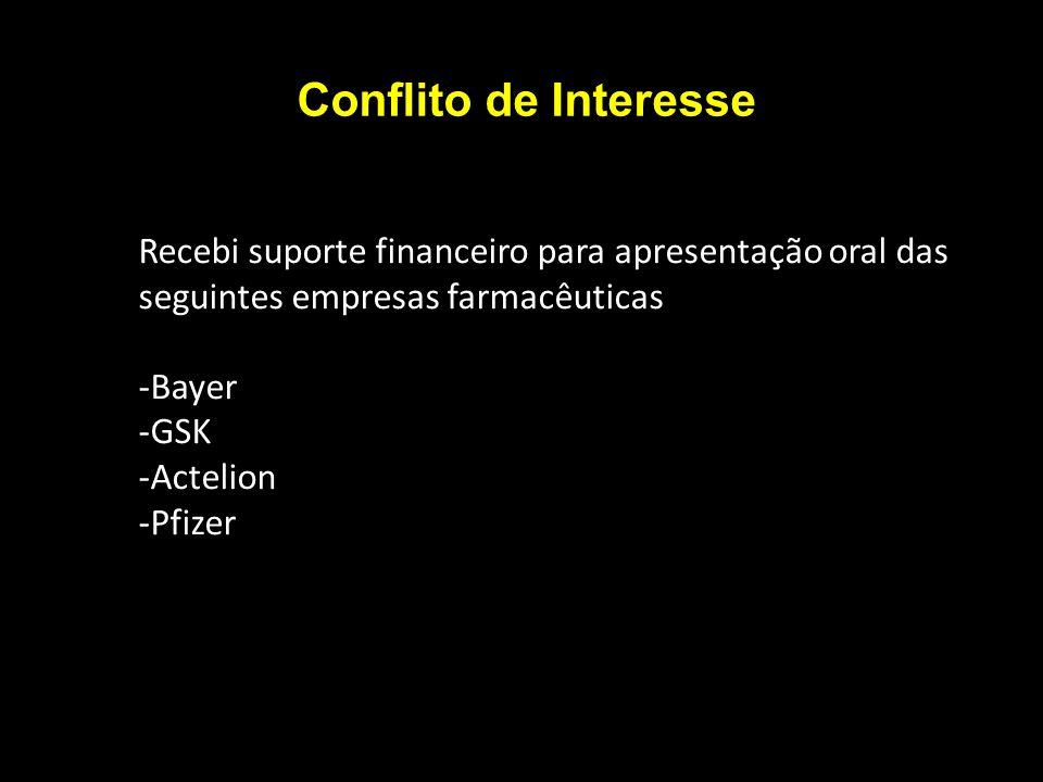 Conflito de Interesse Recebi suporte financeiro para apresentação oral das seguintes empresas farmacêuticas -Bayer -GSK -Actelion -Pfizer