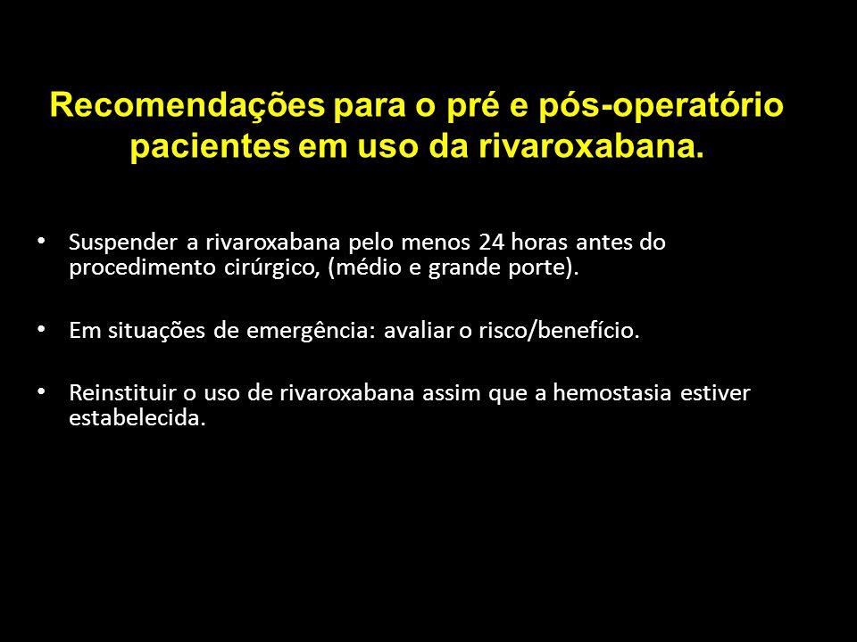 Recomendações para o pré e pós-operatório pacientes em uso da rivaroxabana.