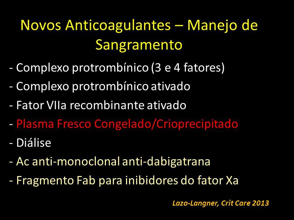 Novos Anticoagulantes – Manejo de Sangramento - Complexo protrombínico (3 e 4 fatores) - Complexo protrombínico ativado - Fator VIIa recombinante ativado - Plasma Fresco Congelado/Crioprecipitado - Diálise - Ac anti-monoclonal anti-dabigatrana - Fragmento Fab para inibidores do fator Xa Lazo-Langner, Crit Care 2013