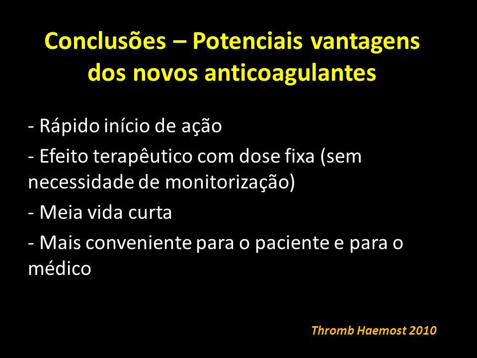 Conclusões – Potenciais vantagens dos novos anticoagulantes - Rápido início de ação - Efeito terapêutico com dose fixa (sem necessidade de monitorização) - Meia vida curta - Mais conveniente para o paciente e para o médico Thromb Haemost 2010