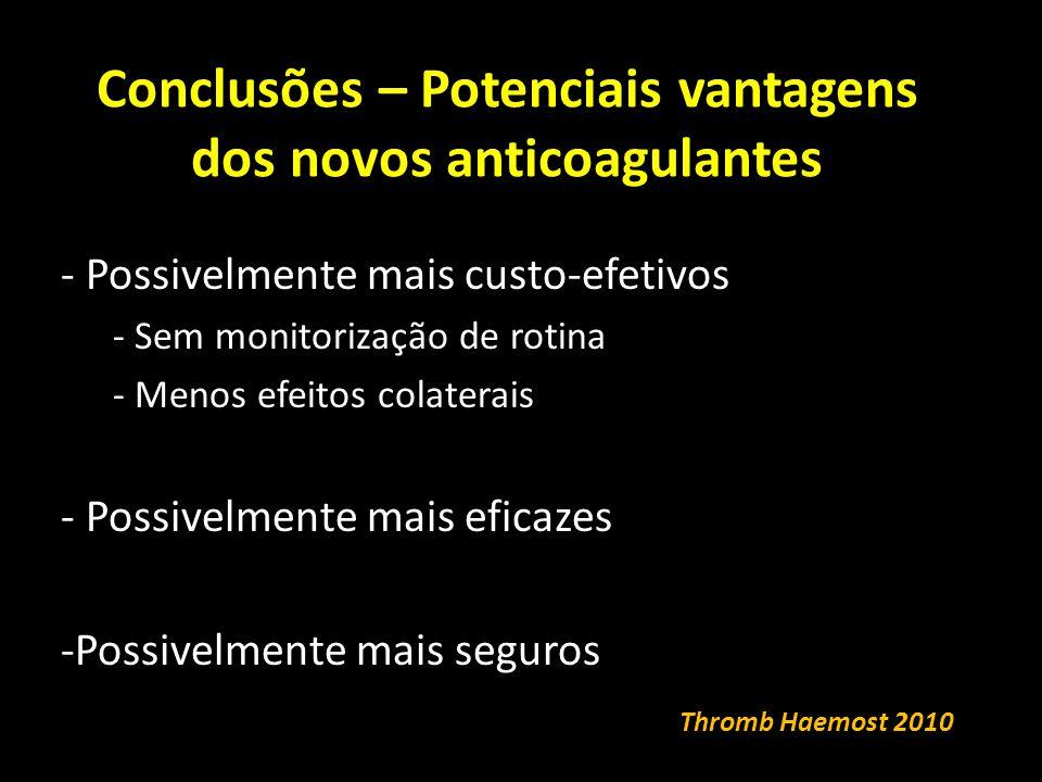 Conclusões – Potenciais vantagens dos novos anticoagulantes - Possivelmente mais custo-efetivos - Sem monitorização de rotina - Menos efeitos colaterais - Possivelmente mais eficazes -Possivelmente mais seguros Thromb Haemost 2010