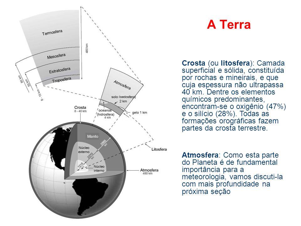 A Terra Crosta (ou litosfera): Camada superficial e sólida, constituída por rochas e mineirais, e que cuja espessura não ultrapassa 40 km. Dentre os e