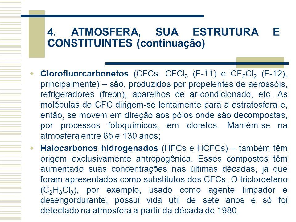 4. ATMOSFERA, SUA ESTRUTURA E CONSTITUINTES (continuação)  Clorofluorcarbonetos (CFCs: CFCl 3 (F-11) e CF 2 Cl 2 (F-12), principalmente) – são, produ