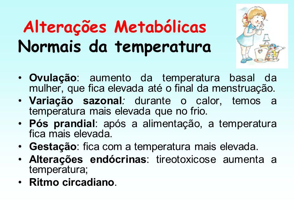Alterações Metabólicas Normais da temperatura Ovulação: aumento da temperatura basal da mulher, que fica elevada até o final da menstruação. Variação