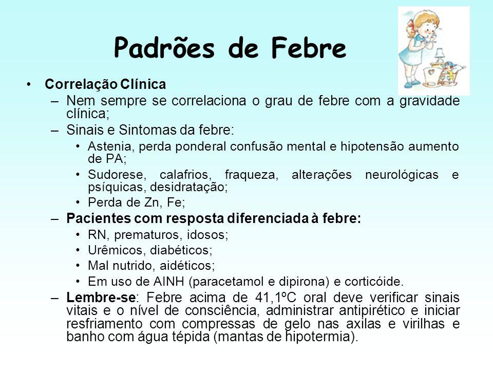 Padrões de Febre Correlação Clínica –Nem sempre se correlaciona o grau de febre com a gravidade clínica; –Sinais e Sintomas da febre: Astenia, perda p